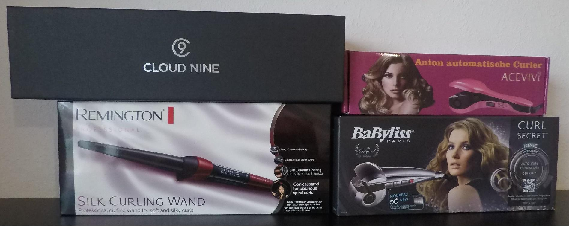 Acevivi Lockenstab, Cloud Nine Wand, Babyliss Curl E1200C und Remington Silk Lockendreher
